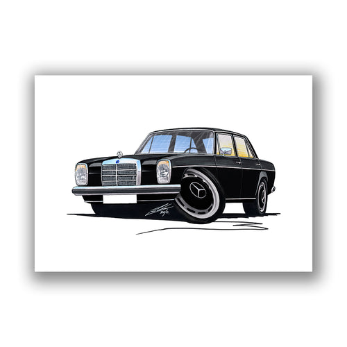 Mercedes 220 (W115) - Caricature Car Art Print
