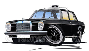 Mercedes 220 (W115) Taxi - Caricature Car Art Print