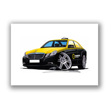 Load image into Gallery viewer, Mercedes E-Class (W212) Swedish Taxi - Caricature Car Art Print