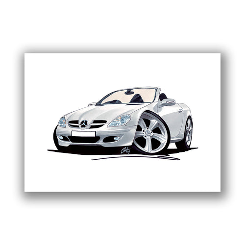 Mercedes SLK 350 - Caricature Car Art Print
