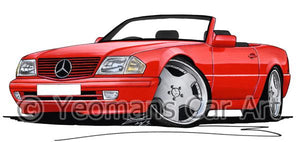 Mercedes SL (R129) - Caricature Car Art Coffee Mug