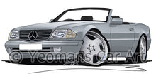 Load image into Gallery viewer, Mercedes SL (R129) - Caricature Car Art Print