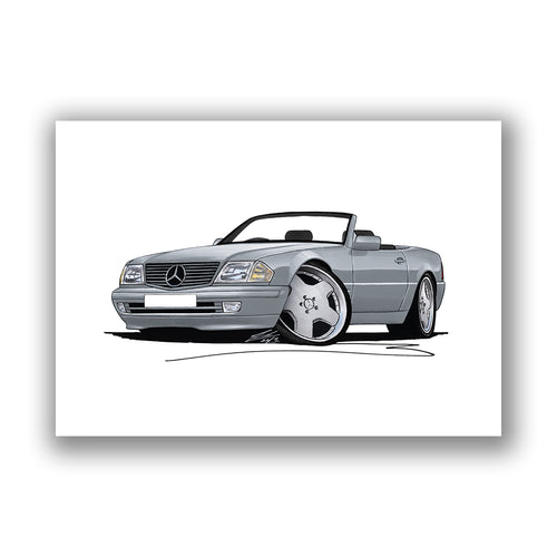 Mercedes SL (R129) - Caricature Car Art Print