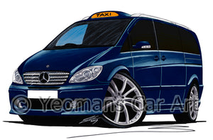 Mercedes Viano Taxi - Caricature Car Art Print