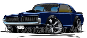 Mercury Cougar (1968) - Caricature Car Art Print