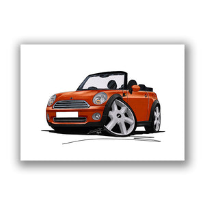 MINI (Mk2)(R57) Cooper Convertible - Caricature Car Art Print