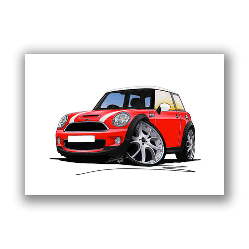 MINI (Mk2)(R56) Cooper S - Caricature Car Art Print