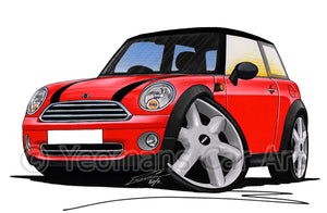MINI (Mk2)(R56) Cooper - Caricature Car Art Print