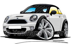 MINI (Mk2)(R58) Coupe - Caricature Car Art Print