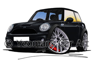 MINI (Mk2)(R56) John Cooper Works - Caricature Car Art Print