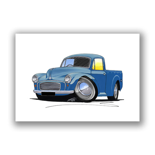 Morris Minor Pick-Up - Caricature Car Art Print