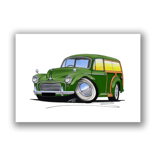 Morris Minor Traveller - Caricature Car Art Print
