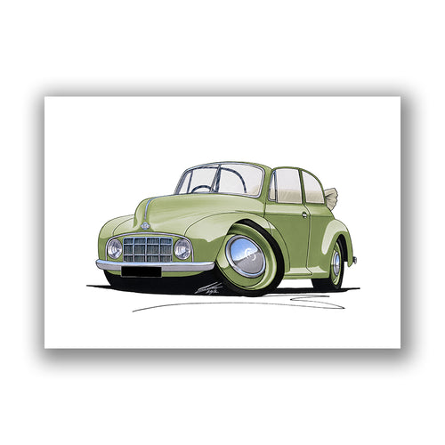 Morris Minor MM Convertible - Caricature Car Art Print