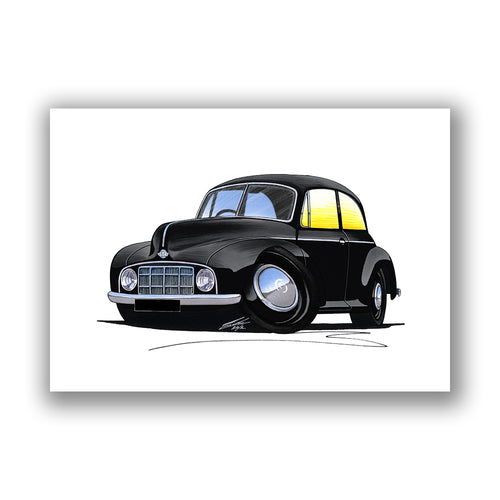 Morris Minor MM - Caricature Car Art Print
