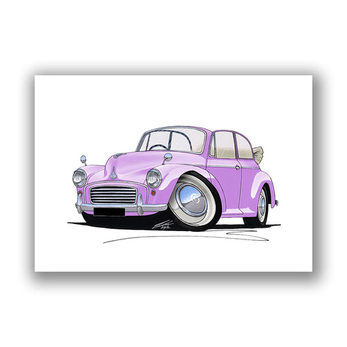 Morris Minor Convertible - Caricature Car Art Print