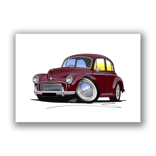 Morris Minor (4dr) - Caricature Car Art Print