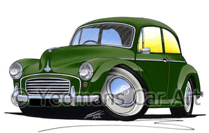Morris Minor (2dr) - Caricature Car Art Print