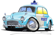 Load image into Gallery viewer, Morris Minor Police Car - Caricature Car Art Print