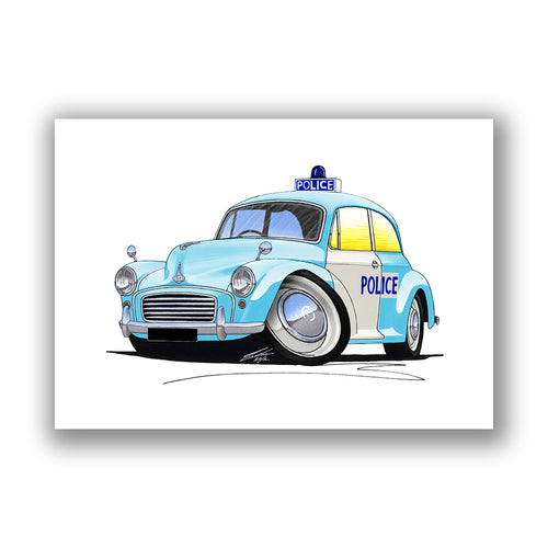 Morris Minor Police Car - Caricature Car Art Print