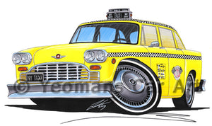 New York Checker Cab - Caricature Car Art Print