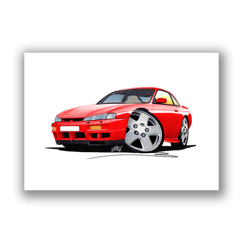Nissan 200SX S14 - Caricature Car Art Print