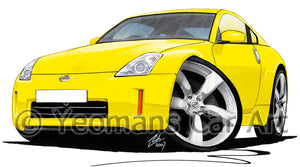 Nissan 350z (Facelift) - Caricature Car Art Print