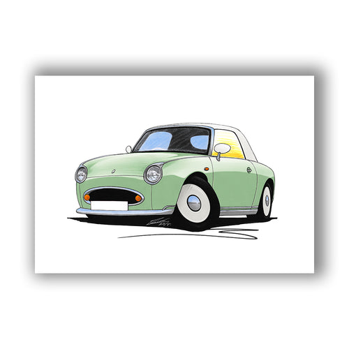 Nissan Figaro - Caricature Car Art Print