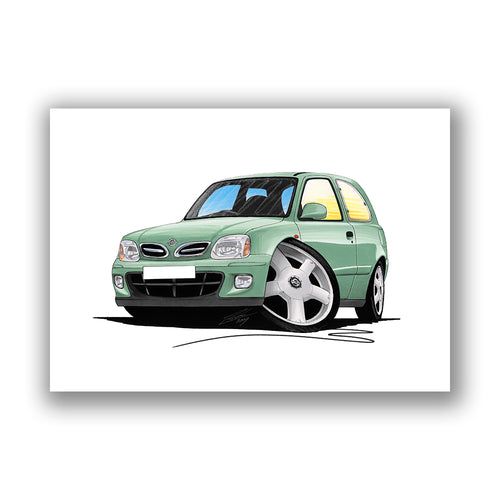Nissan Micra (Mk2/K11)(Facelift) - Caricature Car Art Print