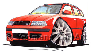 Skoda Octavia 1 vRS Estate - Caricature Car Art Print