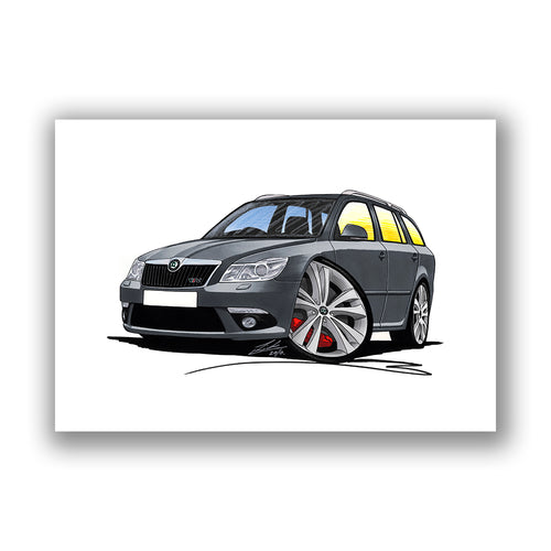 Skoda Octavia 2 (Facelift) vRS Estate - Caricature Car Art Print