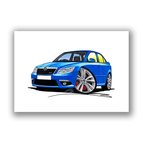 Skoda Octavia 2 (Facelift) vRS - Caricature Car Art Print