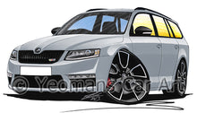 Load image into Gallery viewer, Skoda Octavia 3 vRS Estate - Caricature Car Art Print