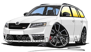 Skoda Octavia 3 vRS Estate - Caricature Car Art Print