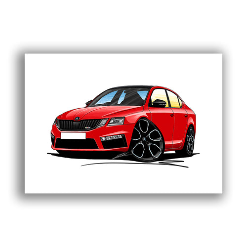 Skoda Octavia 3 (Facelift) vRS 245 - Caricature Car Art Print