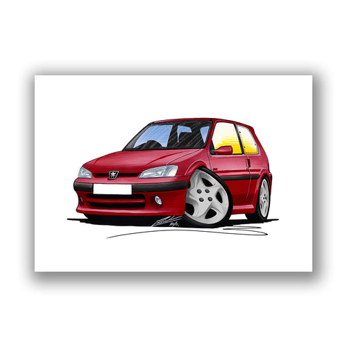 Peugeot 106 GTi - Caricature Car Art Print