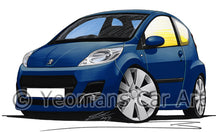 Load image into Gallery viewer, Peugeot 107 (Facelift) - Caricature Car Art Print