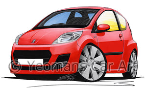 Peugeot 107 (Facelift) - Caricature Car Art Print