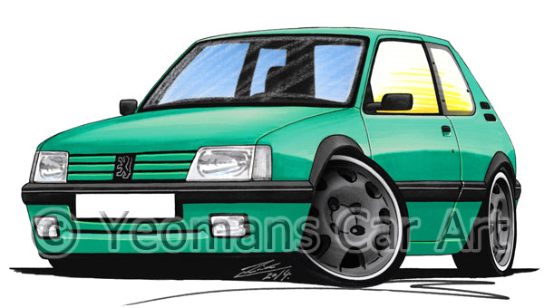 Peugeot 205 GTi Griffe Edition - Caricature Car Art Print