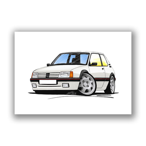 Peugeot 205 GTi - Caricature Car Art Print