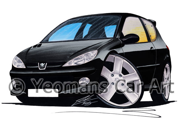 Peugeot 206 GTi - Caricature Car Art Print