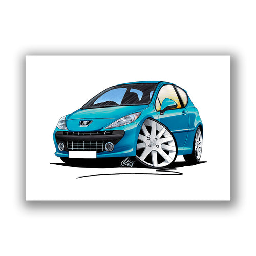 Peugeot 207 - Caricature Car Art Print