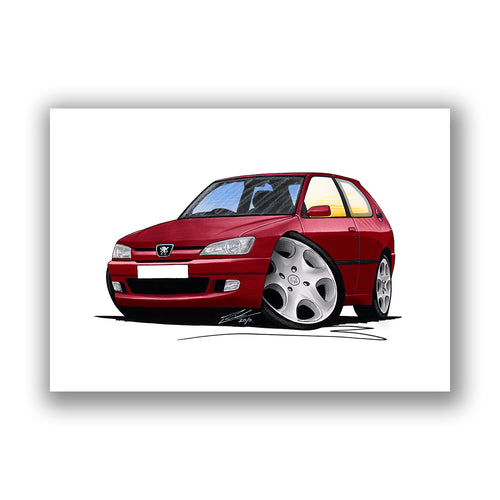 Peugeot 306 - Caricature Car Art Print