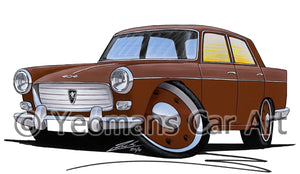 Peugeot 404 - Caricature Car Art Print