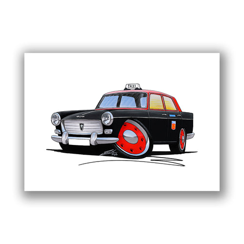 Peugeot 404 Taxi - Caricature Car Art Print