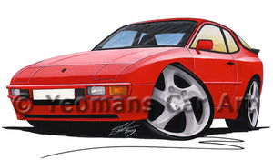 Porsche 944 - Caricature Car Art Print