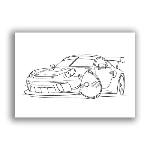 Porsche 911 GT3 RSR - Free Colouring Sheet