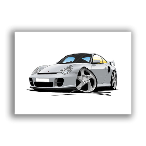 Porsche 911 (996) GT2 - Caricature Car Art Print