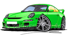 Load image into Gallery viewer, Porsche 911 (997) GT3 - Caricature Car Art Print