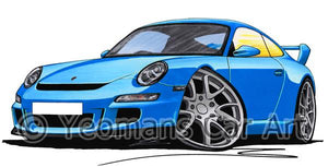 Porsche 911 (997) GT3 - Caricature Car Art Coffee Mug