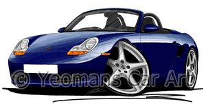 Porsche Boxster (986) - Caricature Car Art Print